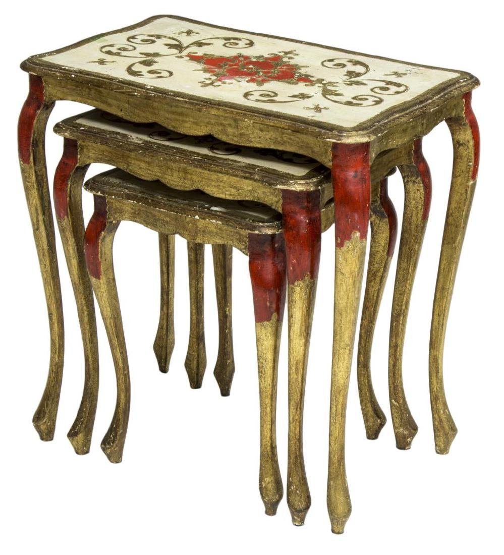 (3) ITALIAN FLORENTINE PARCEL GILT NESTING TABLES