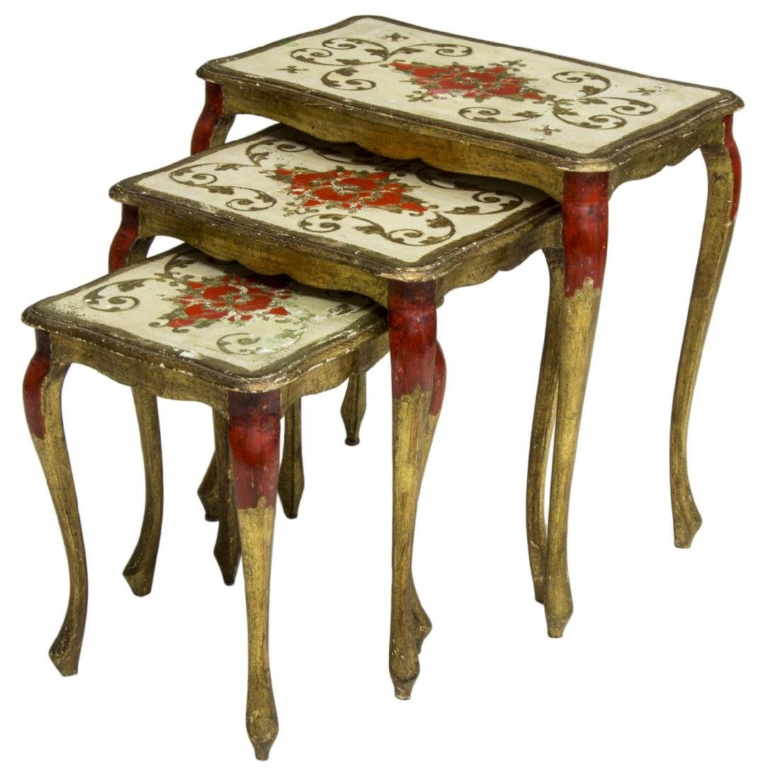 (3) ITALIAN FLORENTINE PARCEL GILT NESTING TABLES - 2