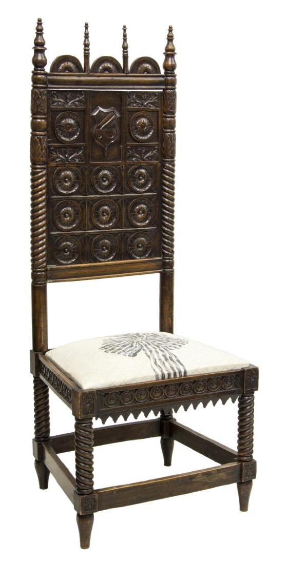 CONTINENTAL HEAVILY CARVED OAK SIDE CHAIR