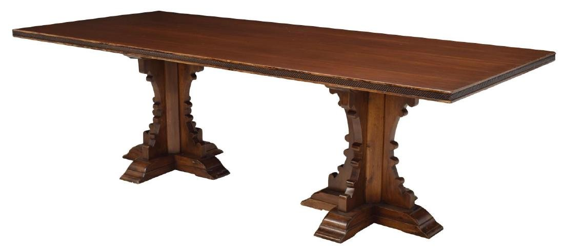 SPANISH GOTHIC REVIVAL DOUBLE PEDESTAL TABLE