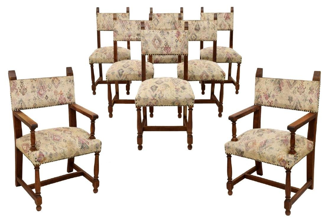 (8) SPANISH BAROQUE-STYLE OAK ARM & DINING CHAIRS