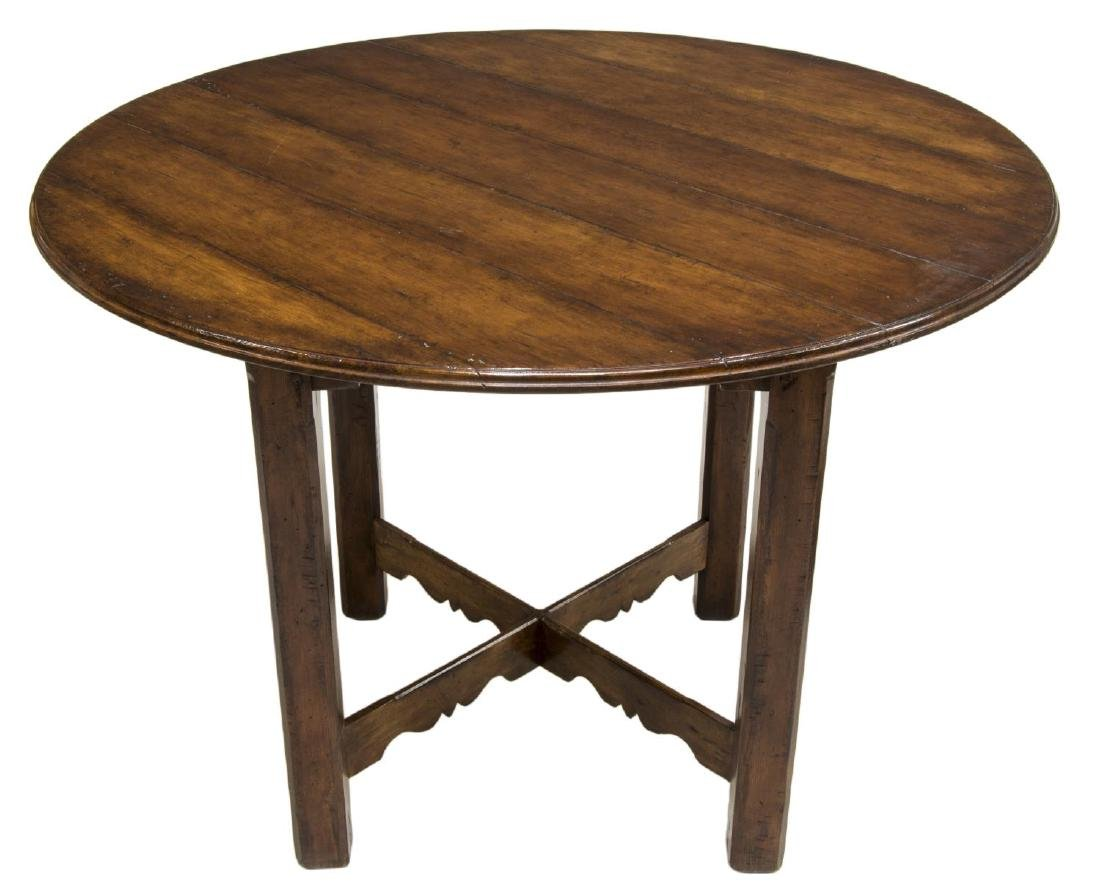 RUSTIC COUNTRY-STYLE ROUND PLANK TOP TABLE - 2