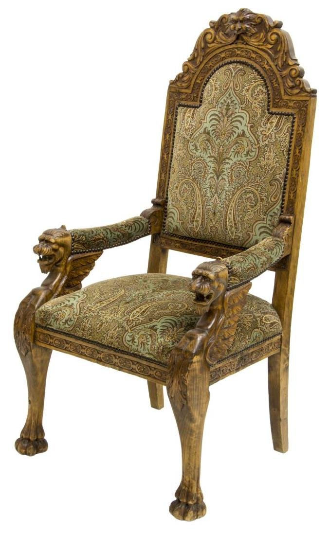 RENAISSANCE REVIVAL CARVED WINGED GRIFFIN ARMCHAIR