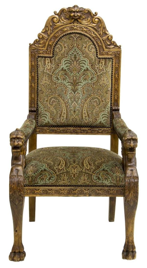 RENAISSANCE REVIVAL CARVED WINGED GRIFFIN ARMCHAIR - 2