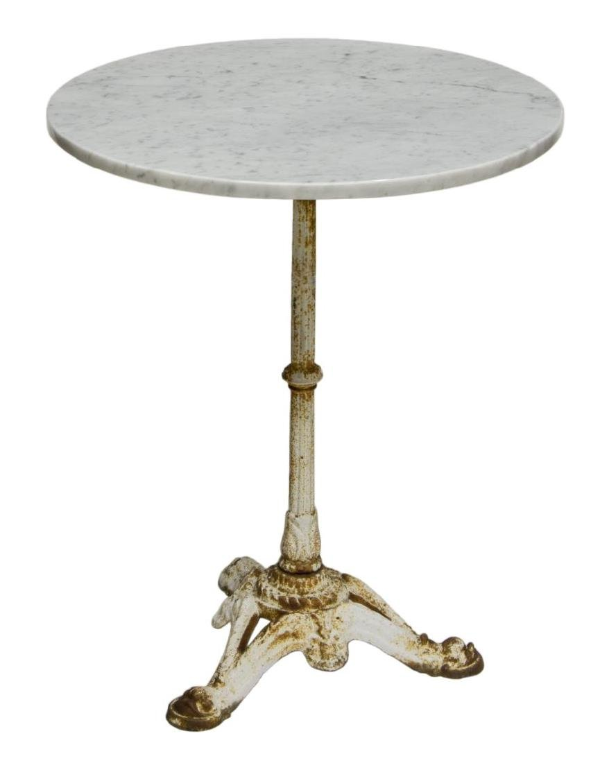FRENCH ROUND PARISIAN BISTRO MARBLE TOP TABLE