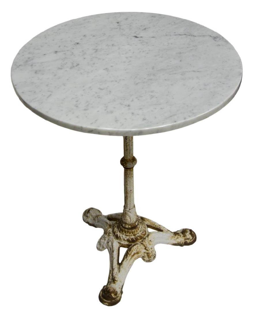 FRENCH ROUND PARISIAN BISTRO MARBLE TOP TABLE - 2