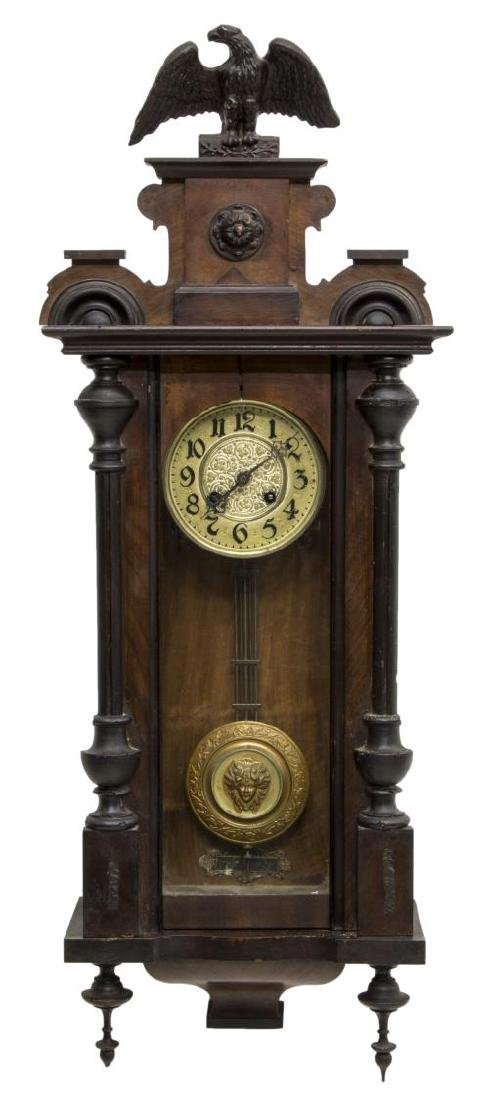 VICTORIAN REGULATOR WALL CLOCK WITH CARVED EAGLE