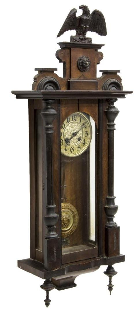 VICTORIAN REGULATOR WALL CLOCK WITH CARVED EAGLE - 2