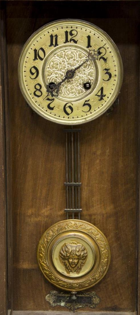 VICTORIAN REGULATOR WALL CLOCK WITH CARVED EAGLE - 3