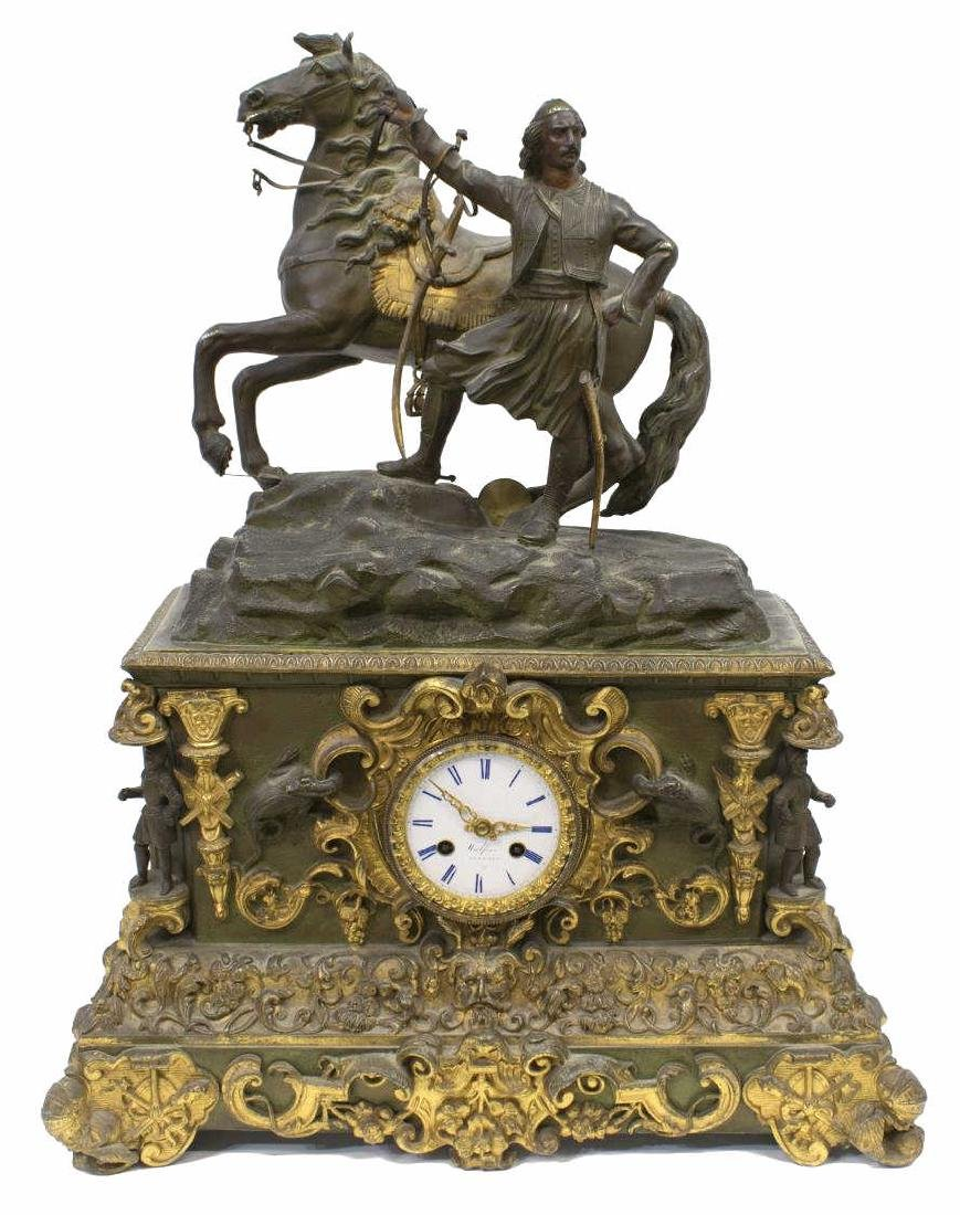 CONTINENTAL FIGURAL MANTLE CLOCK, COSSACK & HORSE