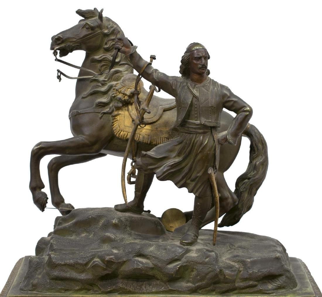 CONTINENTAL FIGURAL MANTLE CLOCK, COSSACK & HORSE - 3