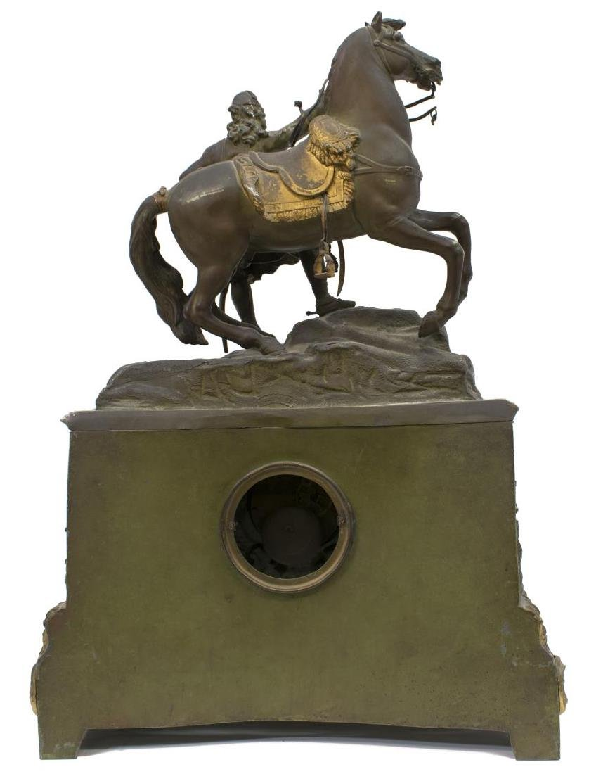 CONTINENTAL FIGURAL MANTLE CLOCK, COSSACK & HORSE - 4