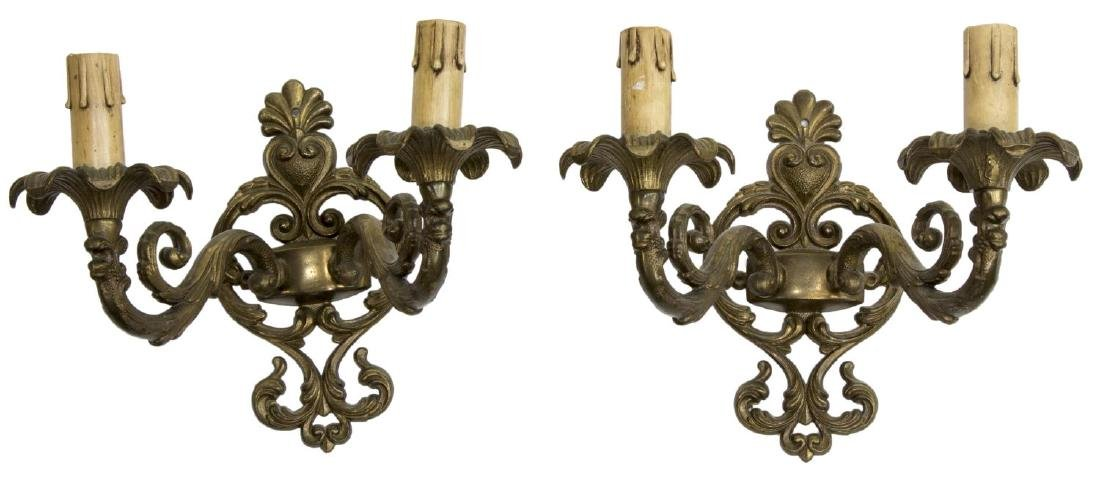 (2) GILT METAL FAUX CANDLE WALL SCONCES