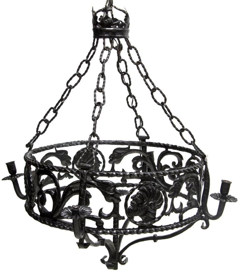 NORTHERN SPAIN IRON RENAISSANCE REVIVAL CHANDELIER - 2