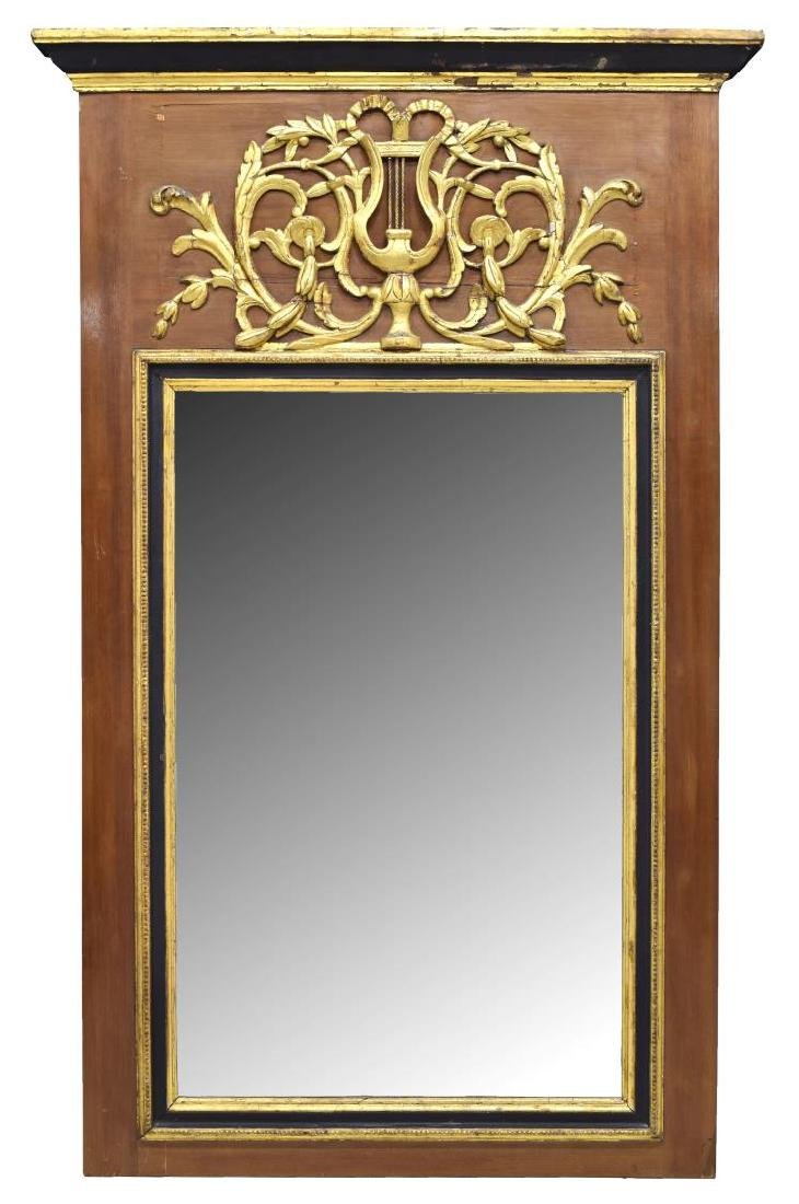 LARGE FRENCH LOUIS XVI PARCEL GILT TRUMEAU MIRROR
