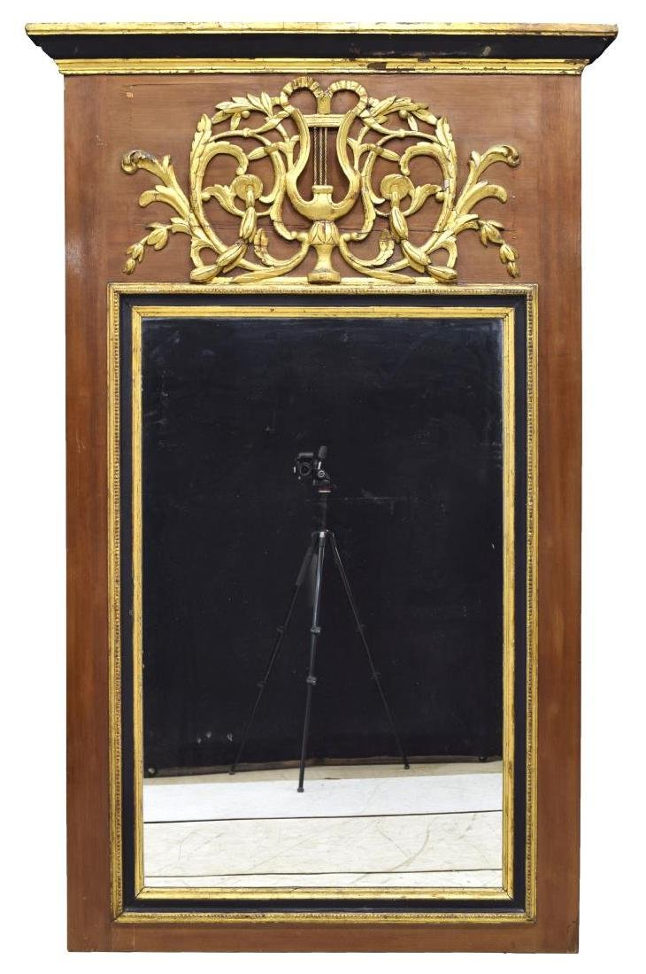 LARGE FRENCH LOUIS XVI PARCEL GILT TRUMEAU MIRROR - 2