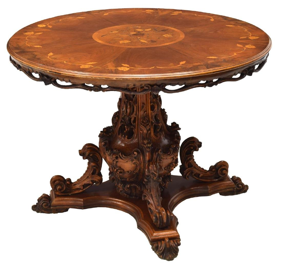 ITALIAN CARVED MARQUETRY TOP WALNUT DINING TABLE