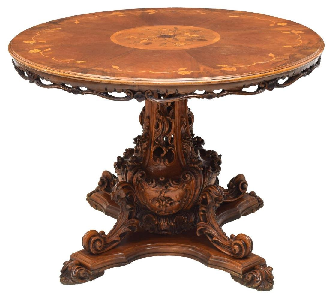 ITALIAN CARVED MARQUETRY TOP WALNUT DINING TABLE - 2