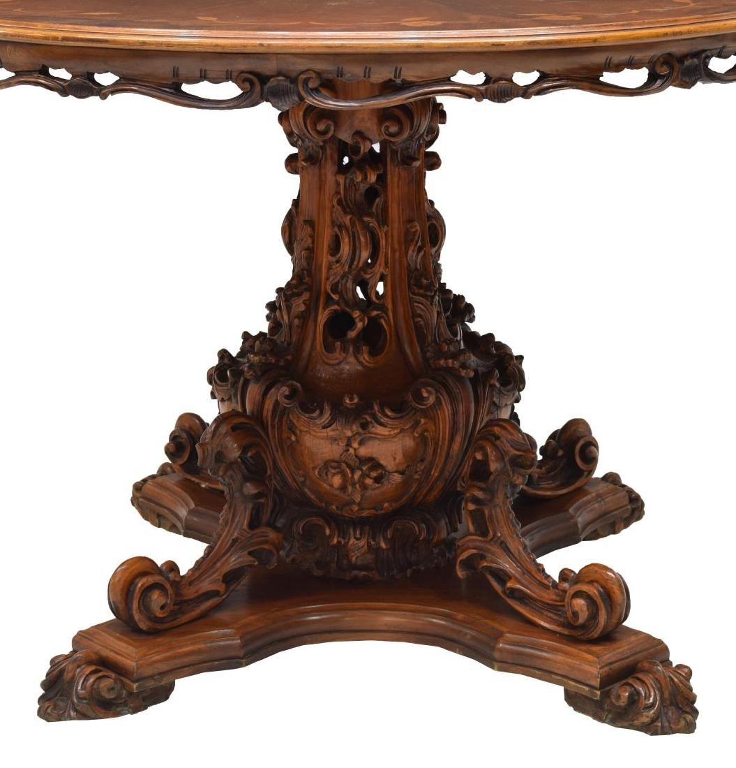ITALIAN CARVED MARQUETRY TOP WALNUT DINING TABLE - 3