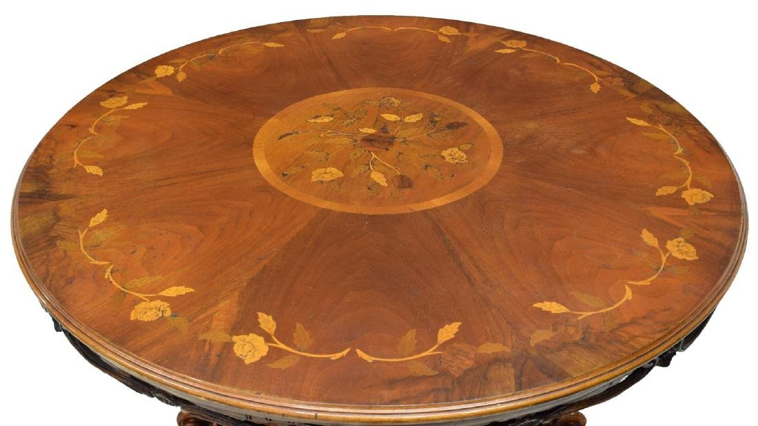 ITALIAN CARVED MARQUETRY TOP WALNUT DINING TABLE - 4