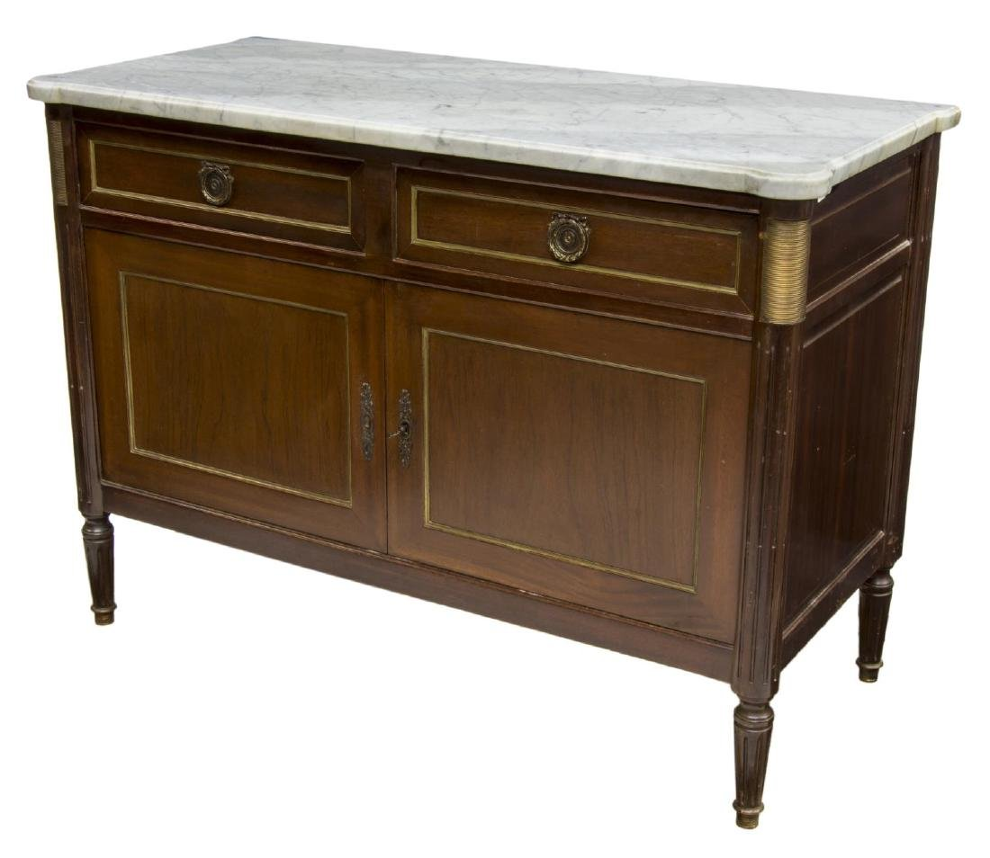 FRENCH LOUIS XVI STYLE MARBLE & MAHOGANY SIDEBOARD