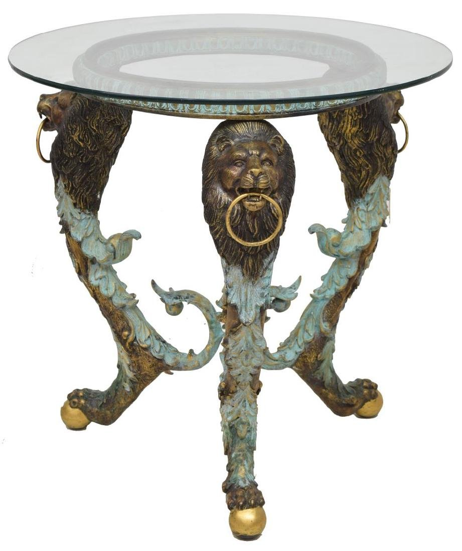 PATINATED BRONZE LION MASK GLASS TOP TABLE