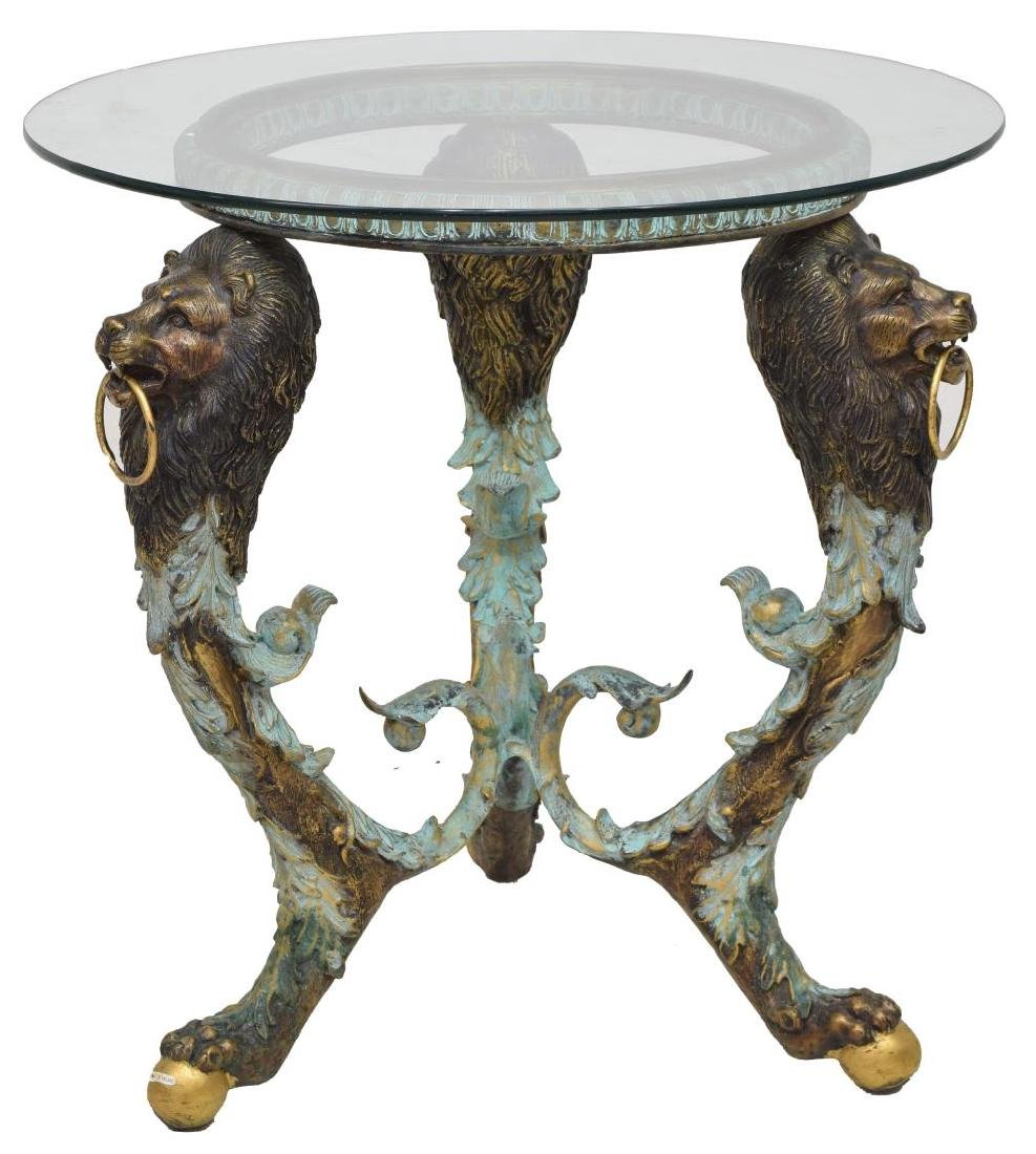 PATINATED BRONZE LION MASK GLASS TOP TABLE - 2