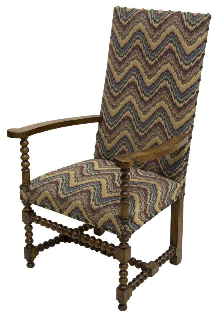 FRENCH CARVED HARDWOOD UPHOLSTERED ARMCHAIR