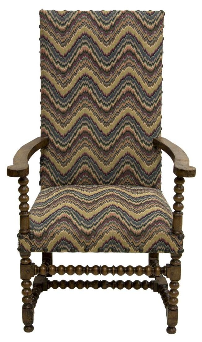 FRENCH CARVED HARDWOOD UPHOLSTERED ARMCHAIR - 2