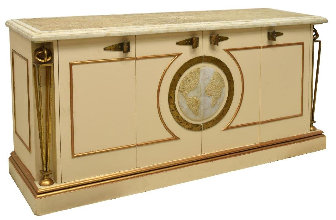 ITALIAN PAINTED WOOD AND STONE GLOBE SIDEBOARD