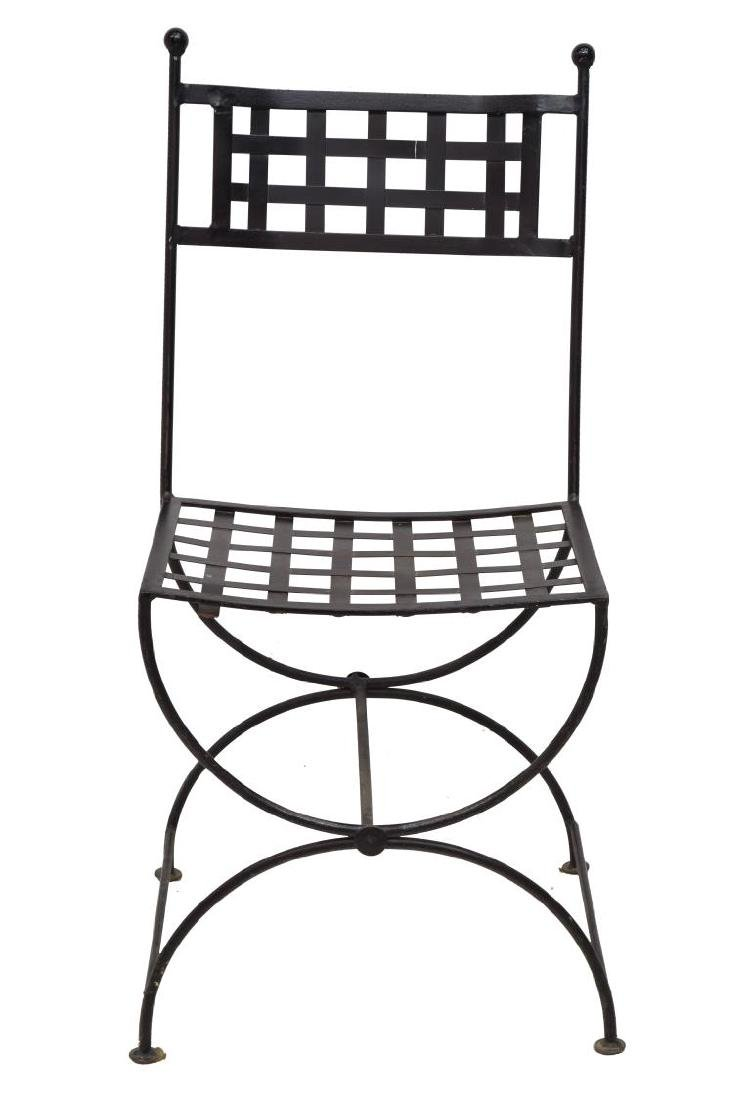 (5) FRENCH BLACK IRON LATTICED GARDEN CHAIRS - 2