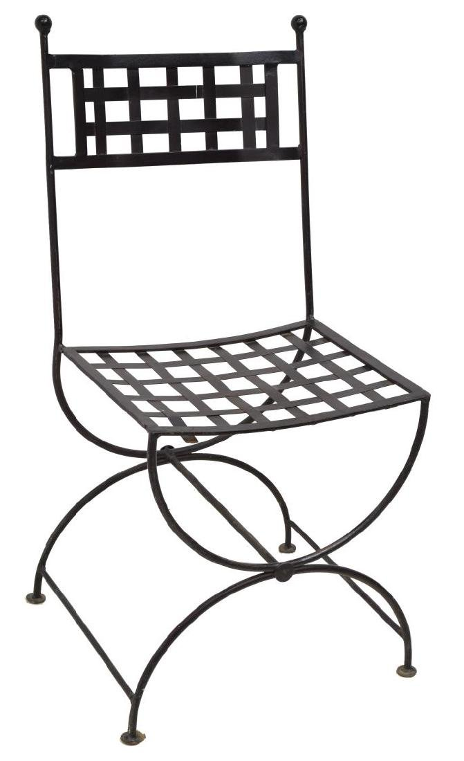 (5) FRENCH BLACK IRON LATTICED GARDEN CHAIRS - 3
