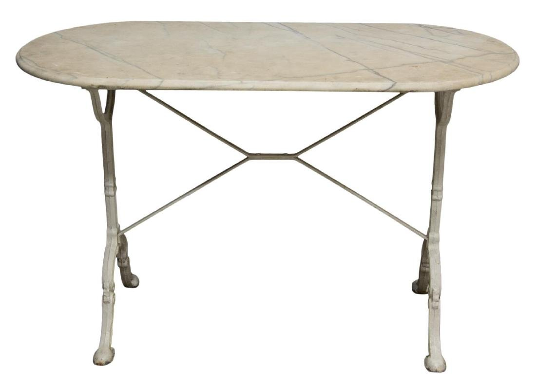 FRENCH MARBLE & IRON BISTRO TABLE - 2