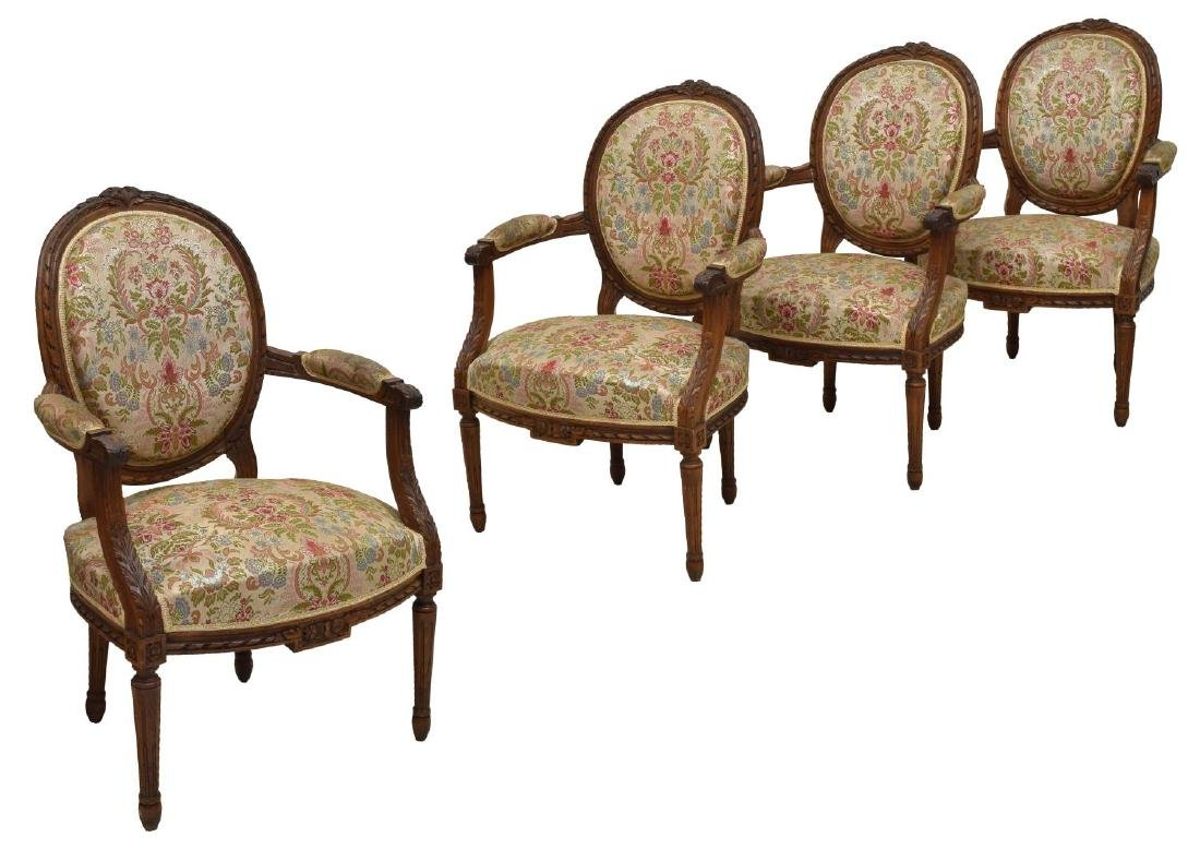 (4) FRENCH LOUIS XV STYLE UPHOLSTERED ARMCHAIRS