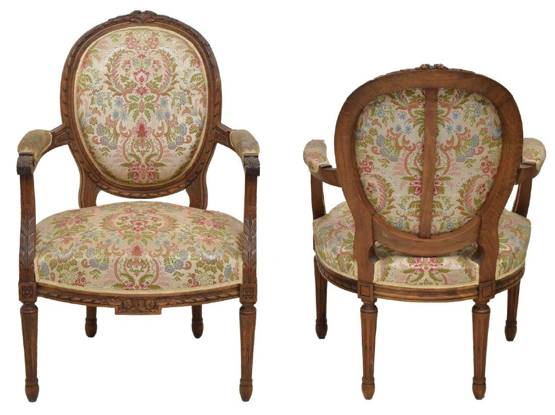 (4) FRENCH LOUIS XV STYLE UPHOLSTERED ARMCHAIRS - 2