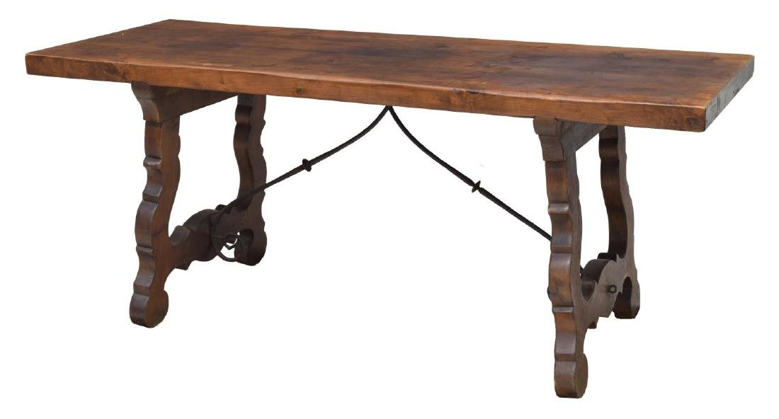 SPANISH FARMHOUSE DINING TABLE, IRON STRTCHERS
