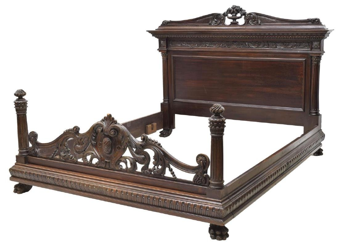 ITALIAN RENAISSANCE REVIVAL HEAVILY CARVED BED