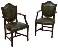 (2) ENGLISH SHERATON STYLE LEATHER ARMCHAIRS