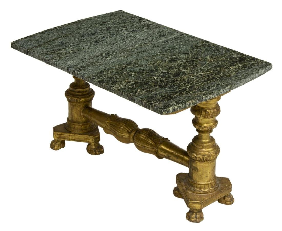 ITALIAN MARBLE TOP GILT BASE SOFA TABLE
