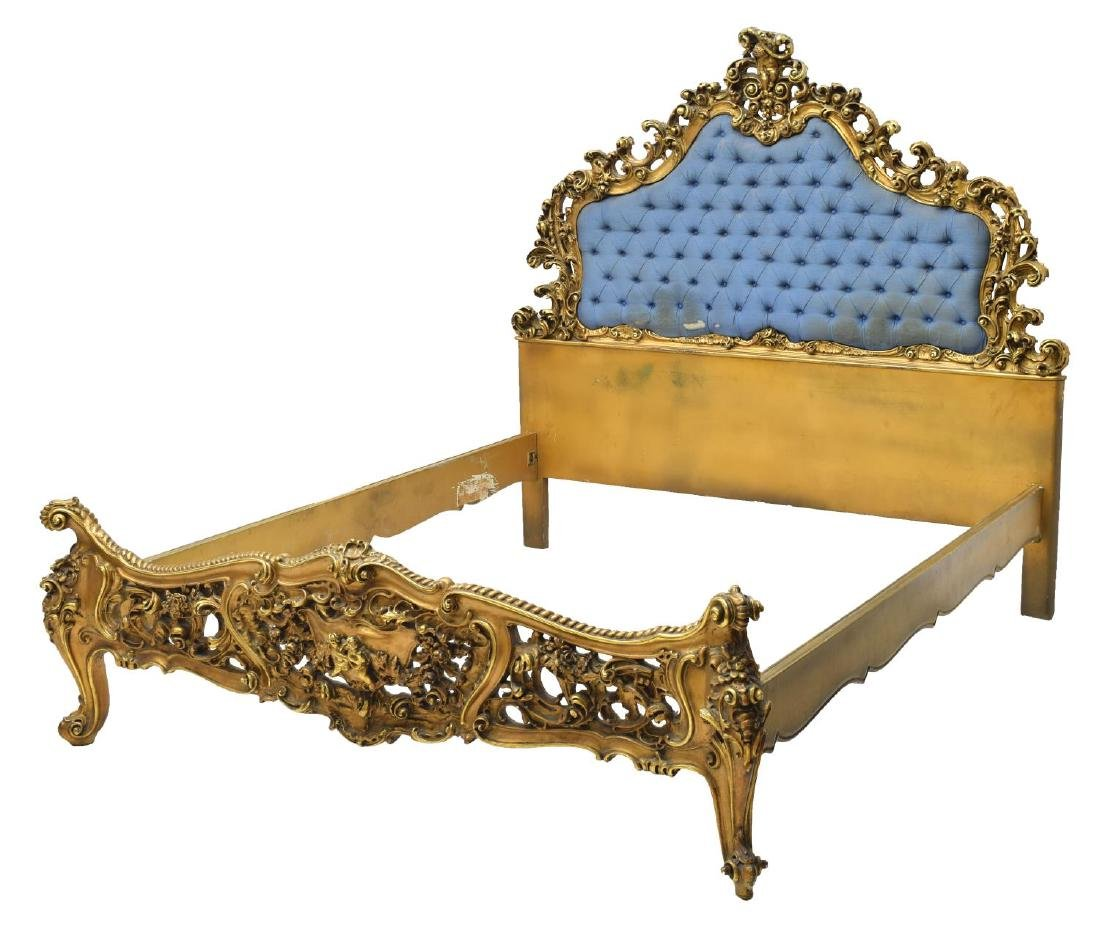 ITALIAN LOUIS XV STYLE HEAVILY CARVED GILT BED