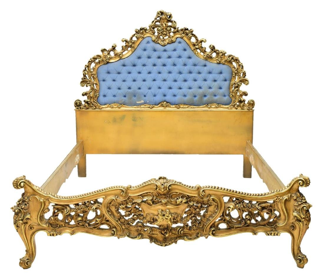ITALIAN LOUIS XV STYLE HEAVILY CARVED GILT BED - 2