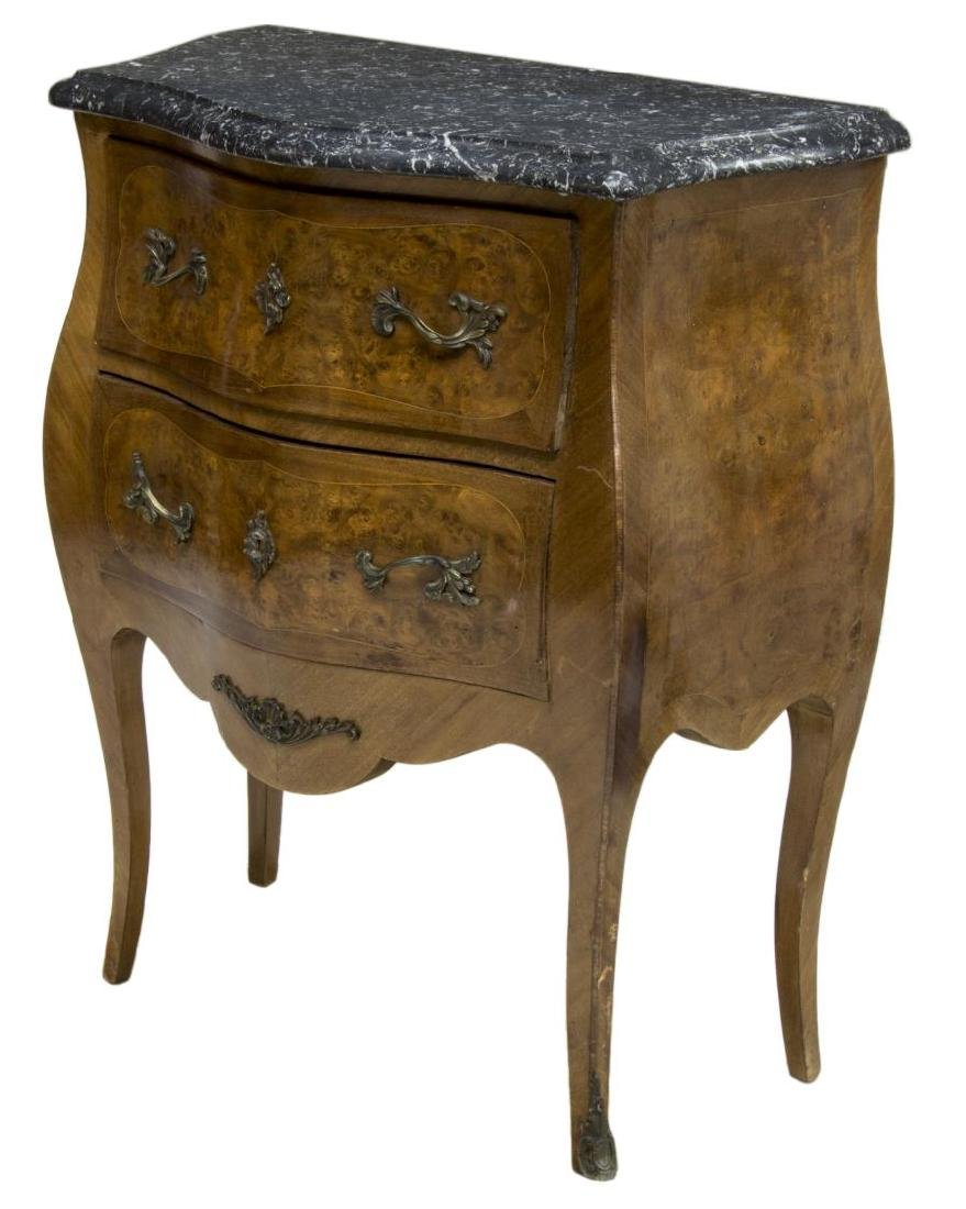 FRENCH MARBLE TOP BURL FINISH COMMODE