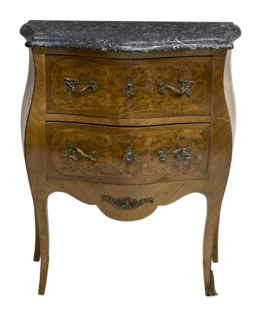 FRENCH MARBLE TOP BURL FINISH COMMODE - 2