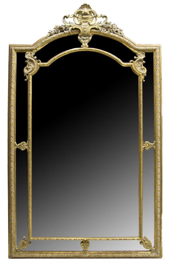 MONUMENTAL LOUIS XV STYLE PARCEL GILT MIRROR