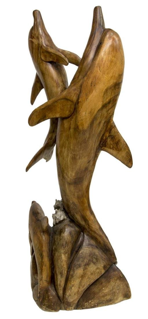 CARVED WOOD FREE-STANDING DOLPHIN SCULPTURE