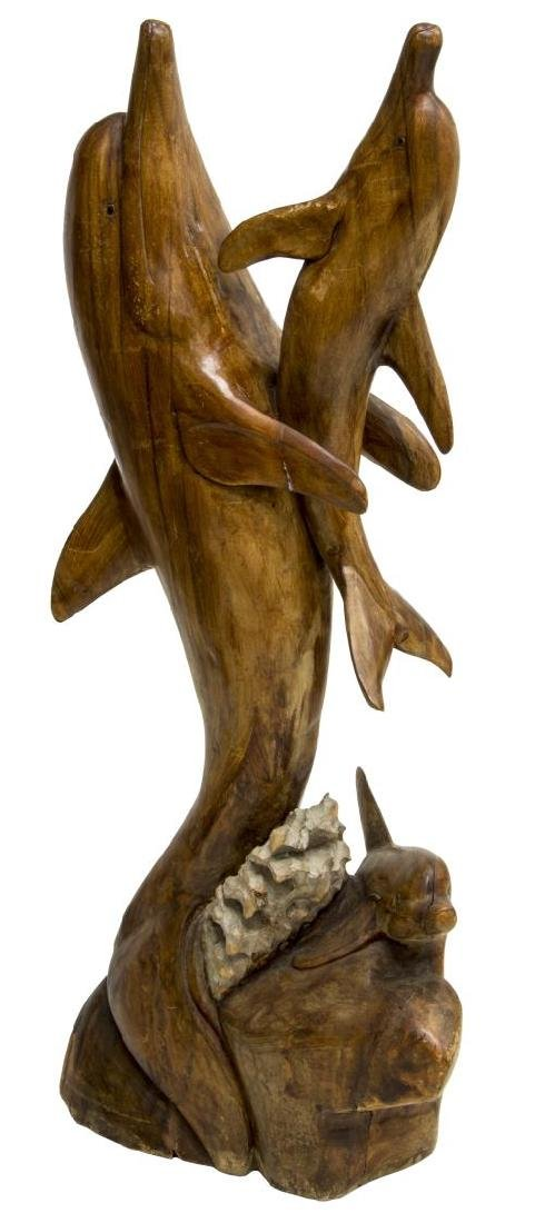 CARVED WOOD FREE-STANDING DOLPHIN SCULPTURE - 2