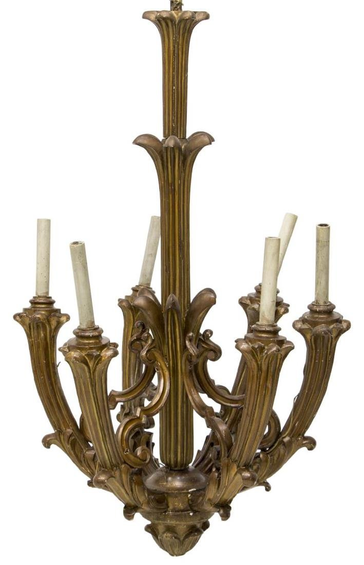 MONUMENTAL VENETIAN GILTWOOD 6LT CHURCH CHANDELIER