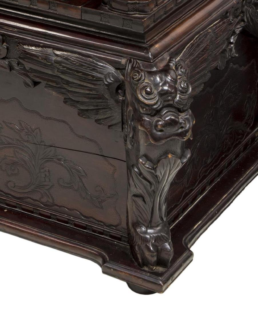 JAPANESE WELL-CARVED HARDWOOD DRAGON BENCH SEAT - 4