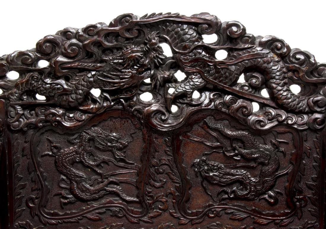 JAPANESE WELL-CARVED HARDWOOD DRAGON BENCH SEAT - 5