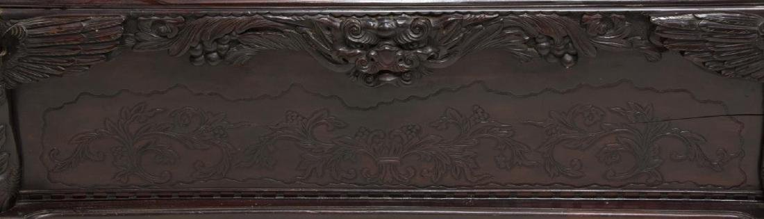 JAPANESE WELL-CARVED HARDWOOD DRAGON BENCH SEAT - 6